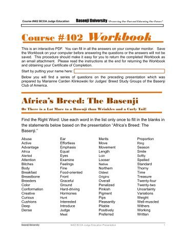 Course #402 Workbook - the Basenji Club of America