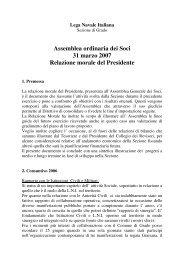 Assemblea ordinaria dei Soci 31 marzo 2007 Relazione morale del ...