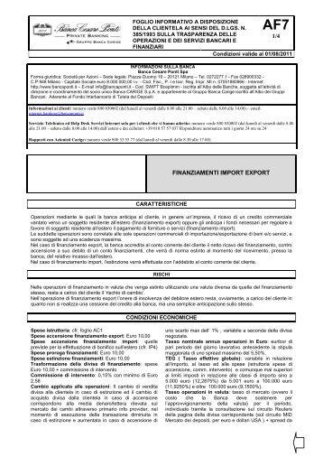 1/4 FINANZIAMENTI IMPORT EXPORT - Gruppo Banca Carige