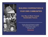 BUILDING COOPERATIVES IN YOUR OWN COMMUNITIES