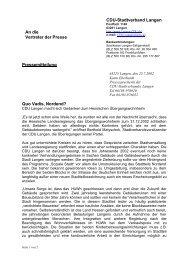 An die Vertreter der Presse CDU-Stadtverband Langen ...
