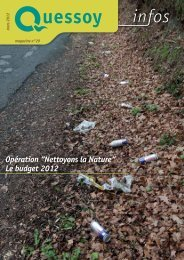 """Opération """"Nettoyons la Nature"""" Le budget 2012 - Mairie de Quessoy"""