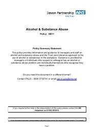 Alcohol & Substance Abuse - Devon Partnership NHS Trust
