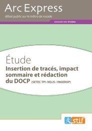 Insertion de tracés, impact sommaire et rédaction - Arc Express