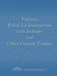 Partners Policy for Interactions with Industry and Other Outside Entities