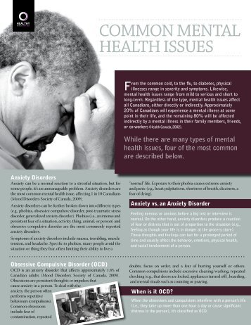 Common Mental Health Issues (pdf) - City of Windsor Wellness