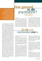 Hoe gezond is de psychiatrie? (slot) - Weliswaar