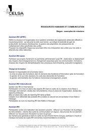 RESSOURCES HUMAINES ET COMMUNICATION Stages ... - Celsa