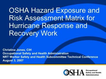 OSHA Hazard Exposure and Risk Assessment Matrix - U.S. National ...
