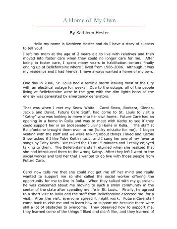 Kathleen's Story - A Home of my Own