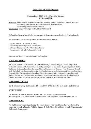 Protokoll der Elternvereinssitzung März 2011 - Wiener Neudorf