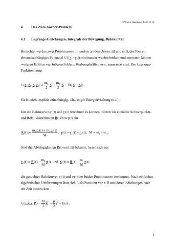 1 4. Das Zwei-Körper-Problem 4.1 Lagrange-Gleichungen, Integrale ...