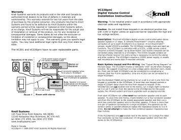 VC220pmi Digital Volume Control Installation ... - Knoll Systems