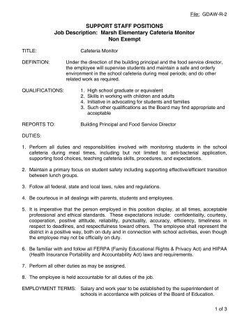Support Staff Positions Job Description: Director Of Facilities