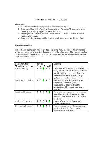 Self Care Assessment Worksheet Www4