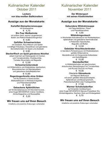 Kulinarischer Kalender - Hotel Rheinsberg am See