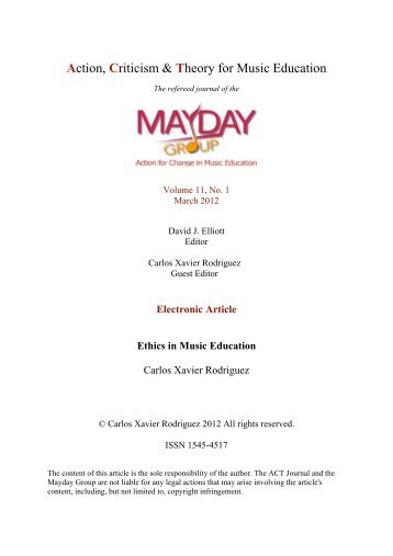 Carlos Xavier Rodriguez, Guest Editor - ACT Journal - MayDay Group