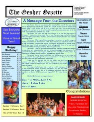 Volume 10 - Issue 8 - August 19, 2011 - Gesher Summer Camp