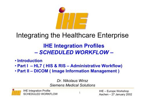 Integrating the Healthcare Enterprise - IHE in Europe