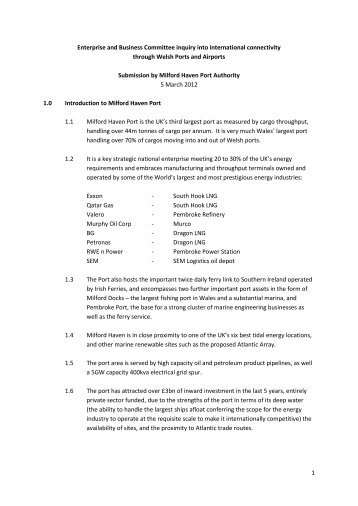10-12 Paper 1 - Milford Haven Port Authority , item 2. PDF 234 KB