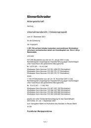 Verkaufsprospekt 2001 (Kapitalerhöhung) - SinnerSchrader AG