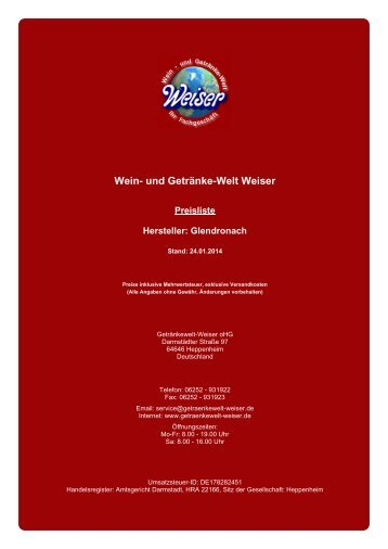 Preisliste für Hersteller: Glendronach - und Getränke-Welt Weiser