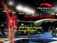 2008 Interim Results Corporate Presentation - Li Ning