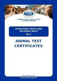 Animal Test Certificates - Veterinary Medicines Directorate - Defra