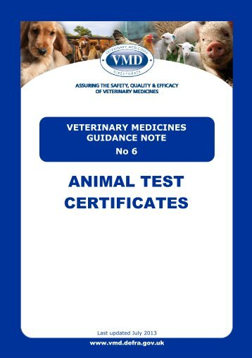 Animal Test Certificates - Veterinary Medicines Directorate - Defra