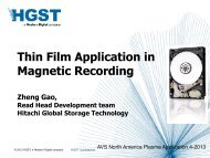 Thin Film Application in Magnetic Recording - NCCAVS - User Groups