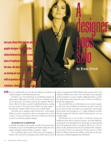 by Diane Erlich - Graphic Exchange magazine