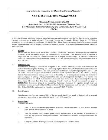 Annual Tier Ii Filing Fee Worksheet