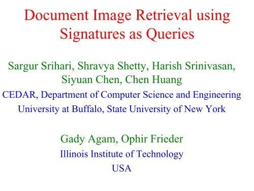 Document Image Retrieval using Signatures as Queries - CEDAR