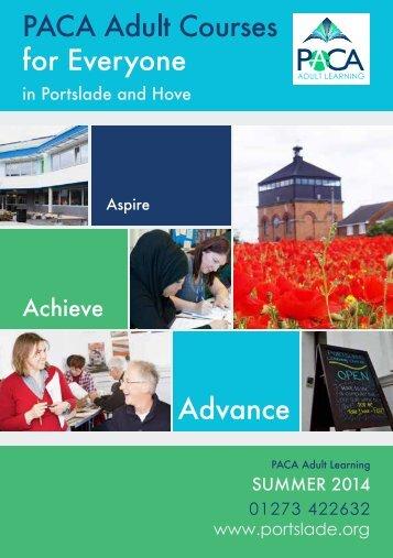 PACA Adult Learning Prospectus -Summer 2014