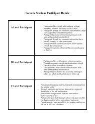 Socratic Seminar: Participant Rubric