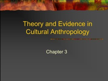 Theory and Evidence in Cultural Anthropology