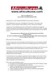 Lettre aux adhérents n° 2 / Convocation à l'assemblée ... - Africultures