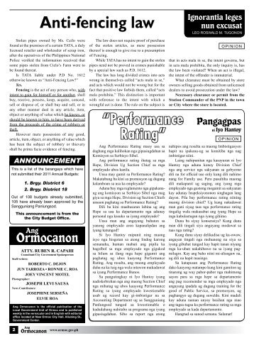 Anti-fencing law - City Government of Ormoc