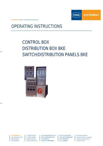 OPERATING INSTRUCTIONS CONTROL BOX ... - Electromach BV