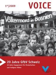20 Jahre GfbV Schweiz - Gesellschaft für bedrohte Völker