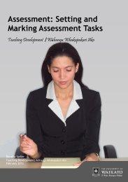 Assessment: Setting and Marking Assessment Tasks