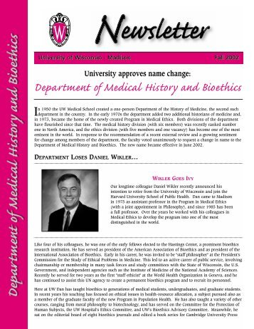 Fall 2002 - Medical History & Bioethics - University of Wisconsin ...