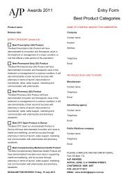 Awards 2011 Entry Form Best Product Categories
