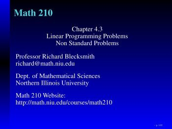 Find pivot row - Department of Mathematical Sciences - Northern ...