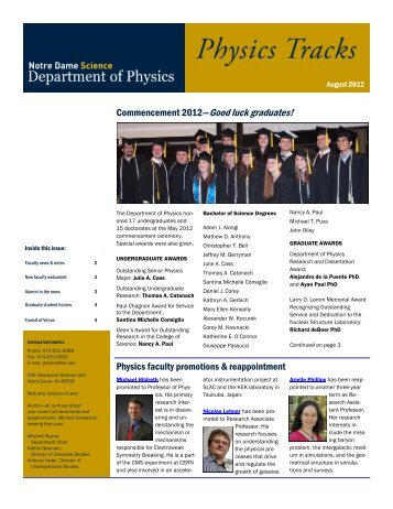 August 2012 - Physics Department - University of Notre Dame