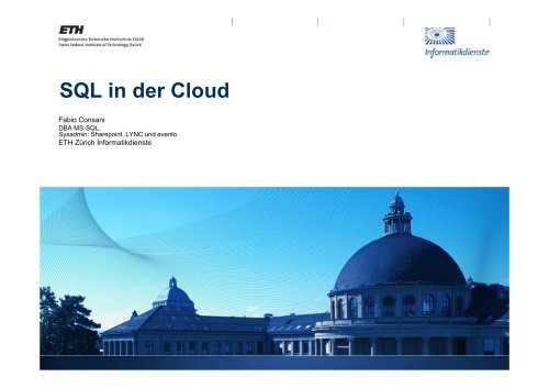 SQL in der Cloud - ITEK - ETH Zürich
