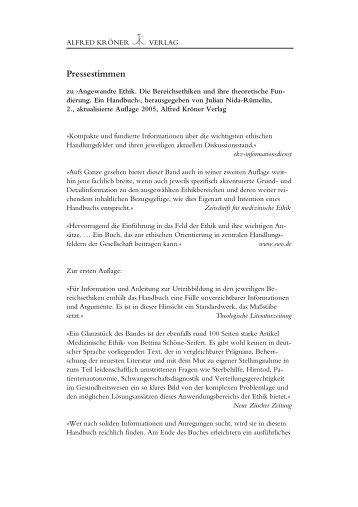 Pressestimmen - Alfred Kröner Verlag