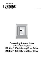Operating Instructions - tormax danmark a/s