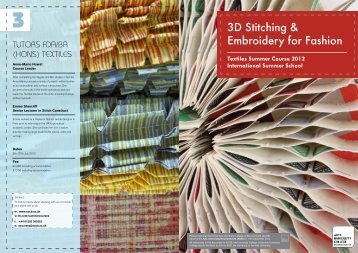3D Stitching & Embroidery for Fashion - Arts University Bournemouth