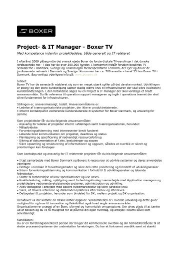 Project- & IT Manager - Boxer TV